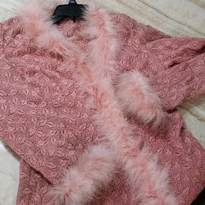 Vintage pink feather duster acetate silk